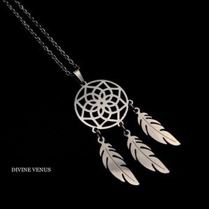 Dream Catcher Feather Necklace | Stainless Steel